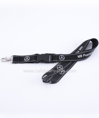 black 25mm reflective polyester lanyard with plastic buckle_m2