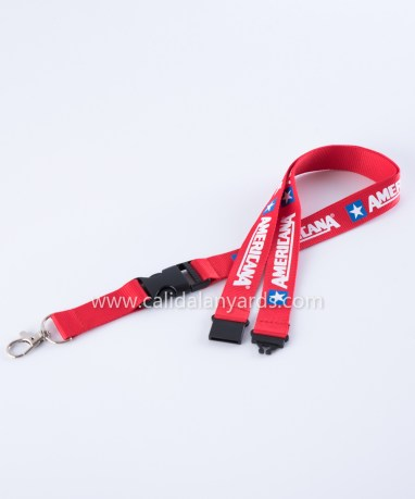 red 20mm silk_screen_ printed polyester lanyard with safety breakaway and plastic buckle_m2